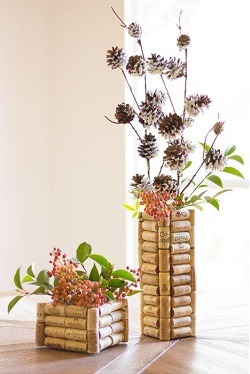 vase with wine bottle corks