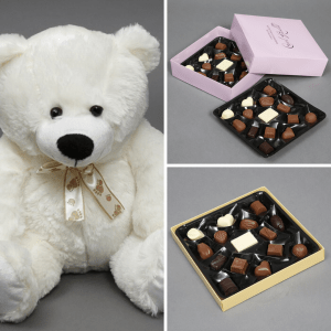 Valentines gift ideas for her- teddy and chocolates